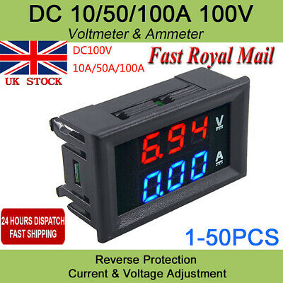 100V 10A/50A/100A Voltmeter Ammeter Blue+LED Amp Digital Volt Meter Gauge 1-10pc
