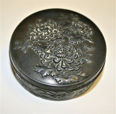 Antique Oriental Chrysanthemum Design Vanity Box Silver Plate on Copper