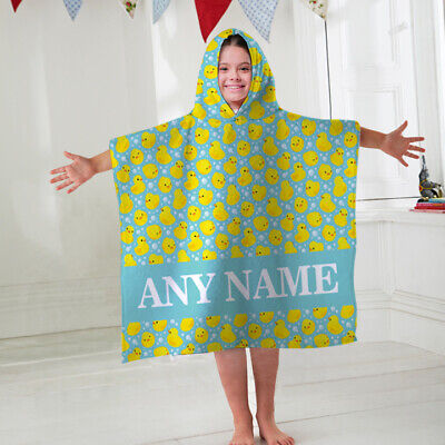 Kids Personalised Hooded Towel Poncho Duck's All Over Childrens Bathrobe Swim