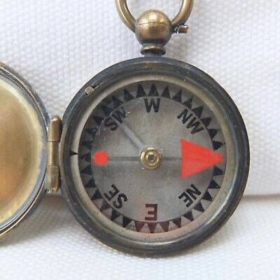 ANTIQUE FRANCIS BARKER MICA DIAL POCKET COMPASS BRASS HUNTER CASED RARE c.1865