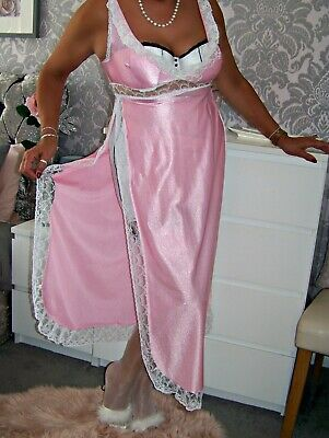 Stunning Vintage Glossy Pink Nylon/White Lace/Frills Full Length Gown.40
