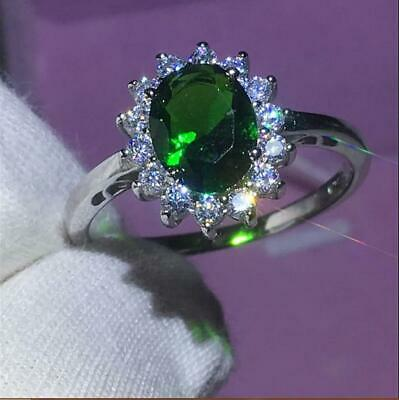 2.50Ct Oval Cut Green Emerald Halo Engagement Ring Solid 14K White Gold Finish