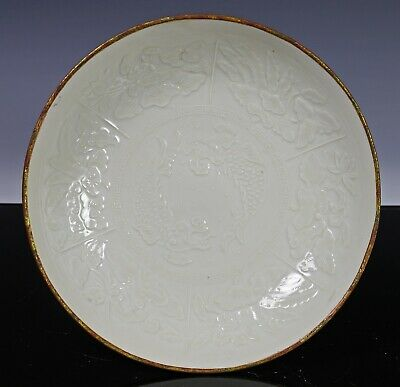 Unusual Antique Chinese White Glazed Dish Plate with Fish