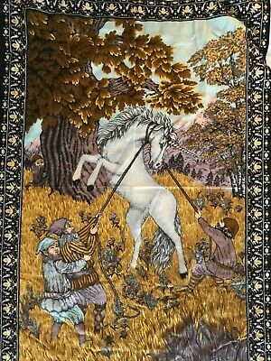UNICORN & ELVES  DWARVES Vtg Wall Hanging Decor ATC Tapestry  MAGIC 70s