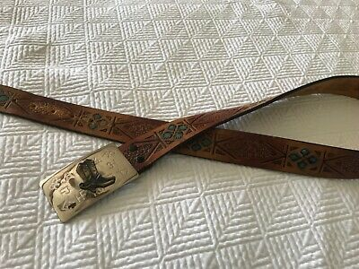 Vtg Tooled Painted LATITAN LEATHER BELT & Chambers Belt Buckle Western  36