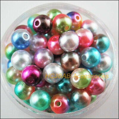 70 New Loose Smooth Round Charms Acrylic Plastic Spacer Beads Colored 8mm
