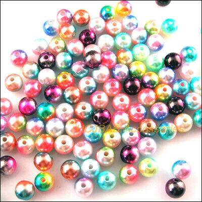 160 New Loose Smooth Round Charms Acrylic Plastic Spacer Beads Colored 6mm