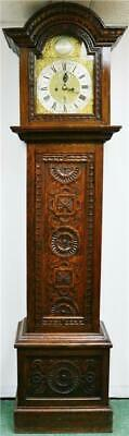 Antique English C1731 8 Day London Highly Carved Oak Grandfather Longcase Clock