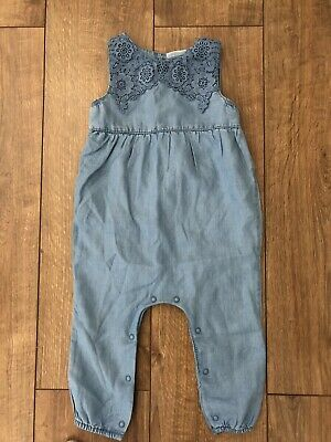 Next Girl Romper Chambray Summer Sleeveless Jumpsuit Playsuit Floral Embroidery