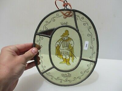 "Stained Glass Window Hanger Leaded Brass Panel Old Falstaff Shakespeare 7.5""W"