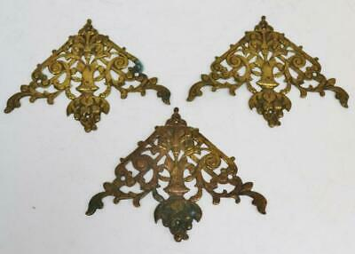 Set Of 3 Original Antique 17thC Pierced Brass Verge Bracket Clock Mounts