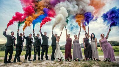 Colorful Smoke Tube Round Bomb Effect Show Background Photography Videos