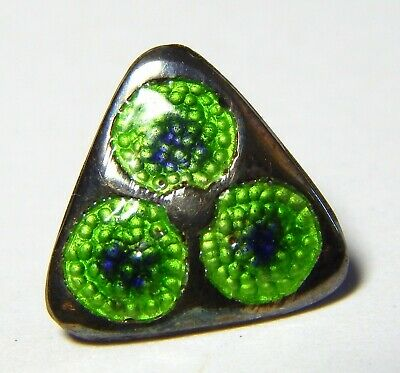 STUNNING ANTIQUE SILVER ARTS+CRAFTS BUTTON w/TRANSPARENT LIME+PERIWINKLE ENAMEL
