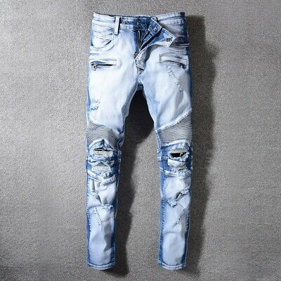 HI-Q Pop Stylish Pleated Patchwork Men Classic Slim Denim Trousers Whisker Jeans