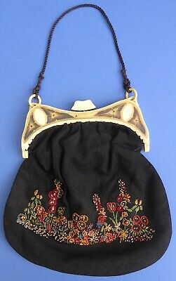 Gorgeous Vintage Embroidered Lady's Evening Bag 1920/30 Art Deco Celluloid Frame