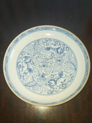 chinese antique porcelain plate with mark blue and white