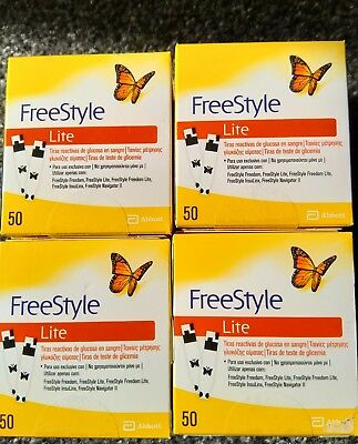 4 x Freestyle Lite Diabetic Blood Glucose Testing Strips 200/strips Exp 06/2020