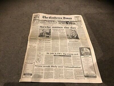 May 28 1987 Bob Hawke announces election date labour party old newspaper