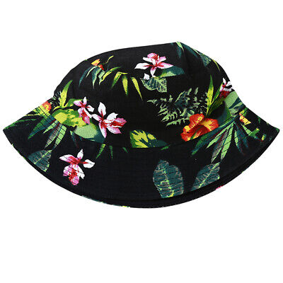Double Sided Women Leaf Print Bucket Hat Outdoor Fisherman Sunshade Cap Hat LD