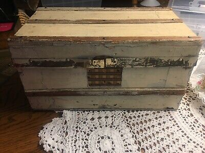 Antique Doll Trunk Salesman Sample Wood Chest Victorian Tray Vintage