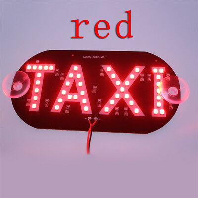 1 Pc Plastic Windscreen Windshield Sign Red Taxi Cab LED Light Lamp Bulb ZX