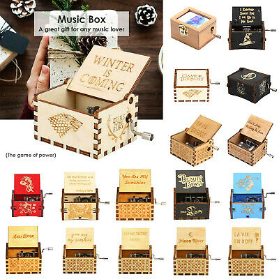 Vintage Wooden Music Box Hand-Cranked Engraved Toys Kid Birthday Gift Xmas Decor