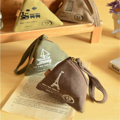 Vintage Mini Canvas Coin Purse Cards Change Wallet Key Container Zipper Pouch OS