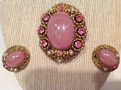 Vtg W.Germany Brooch & Earrings Pink Rhinestones Faux Pearls Large Pink Cabochon