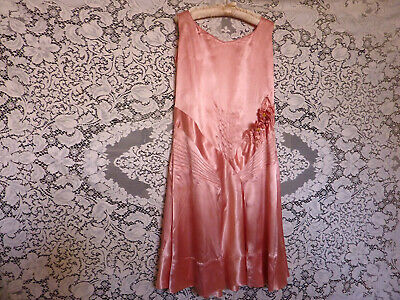 Vintage 1930's Deco in shell pink party dress satin