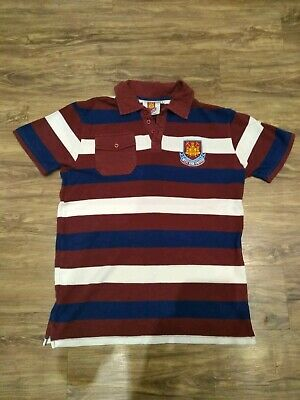 Retro Vintage Official West Ham United Striped Polo Shirt - Adult Size Small