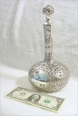 Antique Alvin-Black Starr & Frost Silver Overlay Tree of LIfe decanter w/stopper