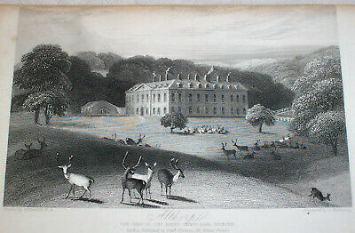 1840 Antique Engraving ALTHORP England , Home Lady Diana Spencer Princess Wales