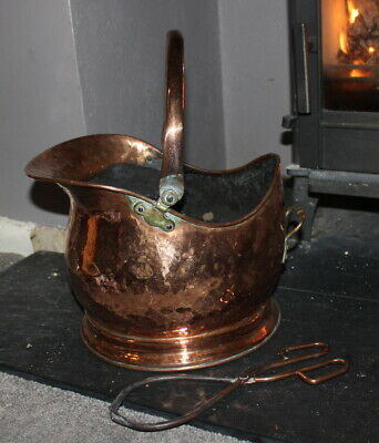 Copper Coal Scuttle Antique Vintage Log Bucket Small with tongs