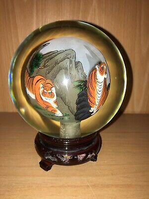 Lg. Reverse Painted Chinese Globe Paperweight Tigers with Base