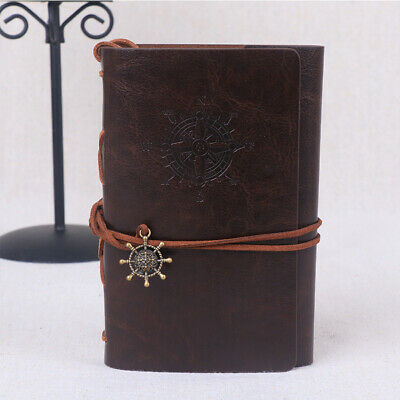 PU Leather Classical Retro Spiral Ring Binder Notebook Diary Journal Travel E6K0