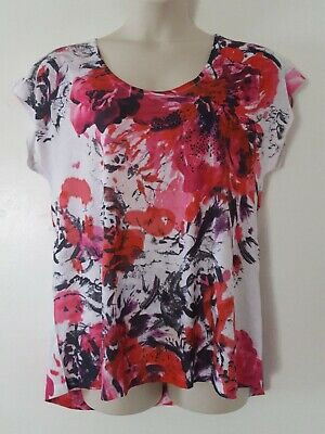 53174147 Lane Bryant Pink Red White Floral Print Short Sleeve Tee Top Plus Size 14/16