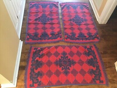Vintage 1960's Retro Flower Power Red Blue Bath Towels Fashion Manor Lot Of 3