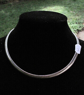 """ITALIAN STERLING SILVER Chocker/Collar Necklace Marked 925 Italy 17"""""""