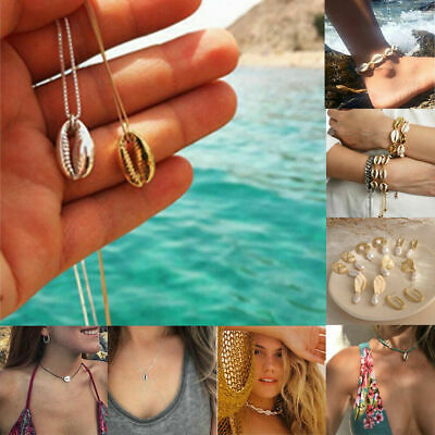 Natural Shell Cowrie Beach Sea Pendant Jewelry Choker Necklace Bracelet Earrings