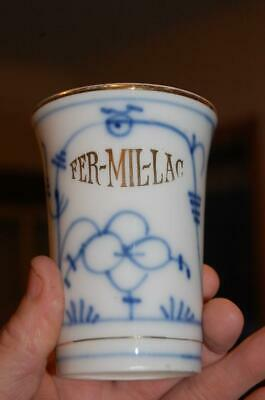 Antique Flow Blue Onion Fer-Mil-Lac Stomach Stabilizer Pharmacy Cup Fermillac