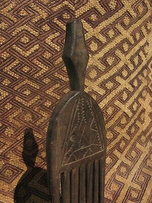 Lg. Vintage African Hand Carved w/freeform design Wooden Hair Comb
