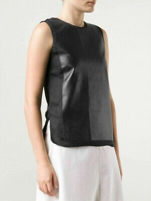 e484f5224584 $495 VINCE Black Leather Front/Silk Back Top 0 XS Sleeveless Popover Tunic  Tank