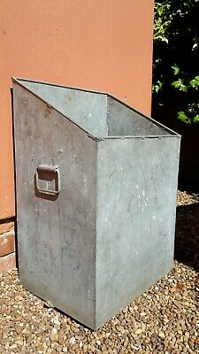 Vintage quality galvanised bin planter log storage with handles