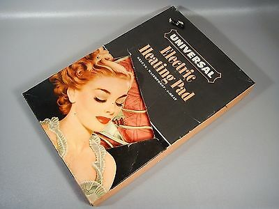 Vintage Universal Electric Heating Pad Pinup Girl Graphic Box Flamingo Color