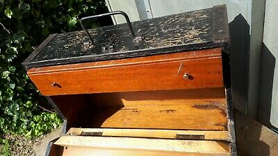 Nice Old wooden engineers tool chest toolbox with metal corners and drawer