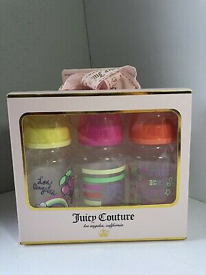 Juicy Couture Baby Bottles Pink Rainbow Stars 3 Pack Infant Toddler New Logo
