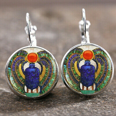 Egyptian Scarab Silver Trendy Glass cabochon 18 MM Lever Back Earrings Wedding