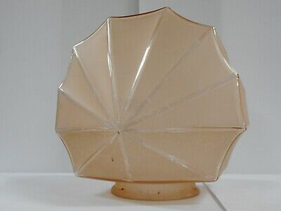 Art Deco Fan Shape Frosted Pink Glass Lamp Shade