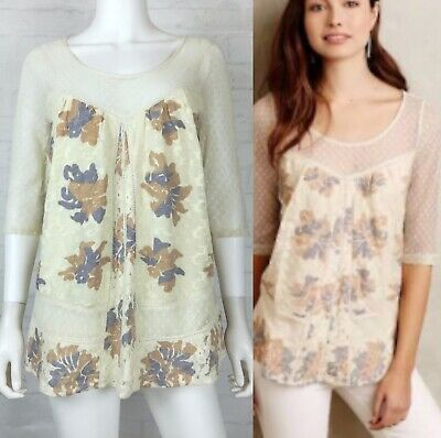 1d2a25322c5d5c Anthropologie Meadow Rue Size Large Blouse Top Polka Dot Lace Cream Floral
