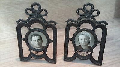 Pair of antique French small photo frames with bow design